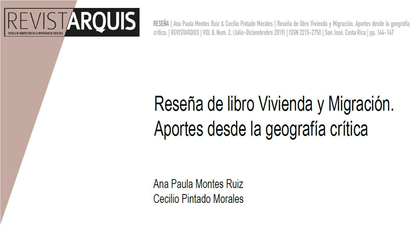 """Portada texto """"Reseña de libro Vivienda y Migración. Aportes desde la geografía crítica"""""""