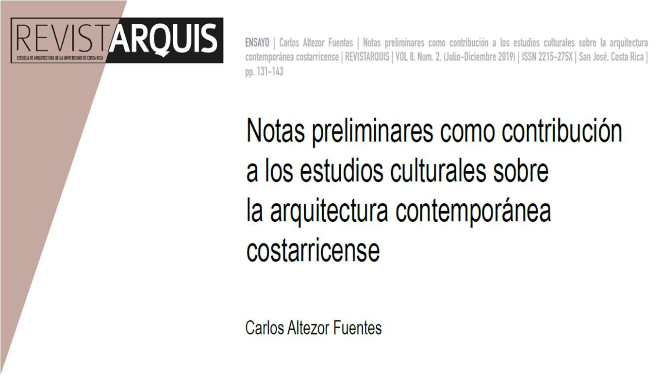 Portada texto Notas preliminares como contribución a los estudios culturales sobre la arquitectura
