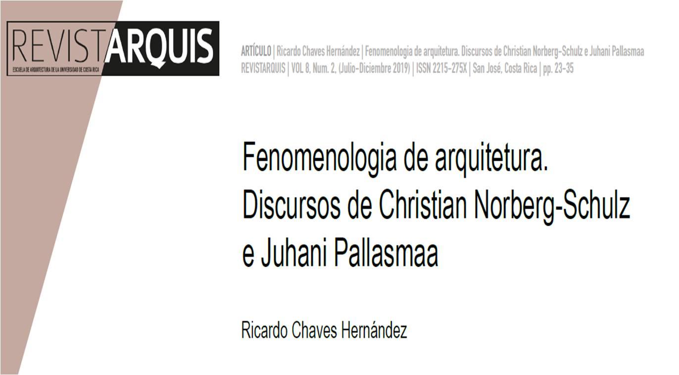 "Portada ""Fenomenologia de arquitectura. Discursos de Christian Norberg-Schulz e Juhani Pallasmaa"""