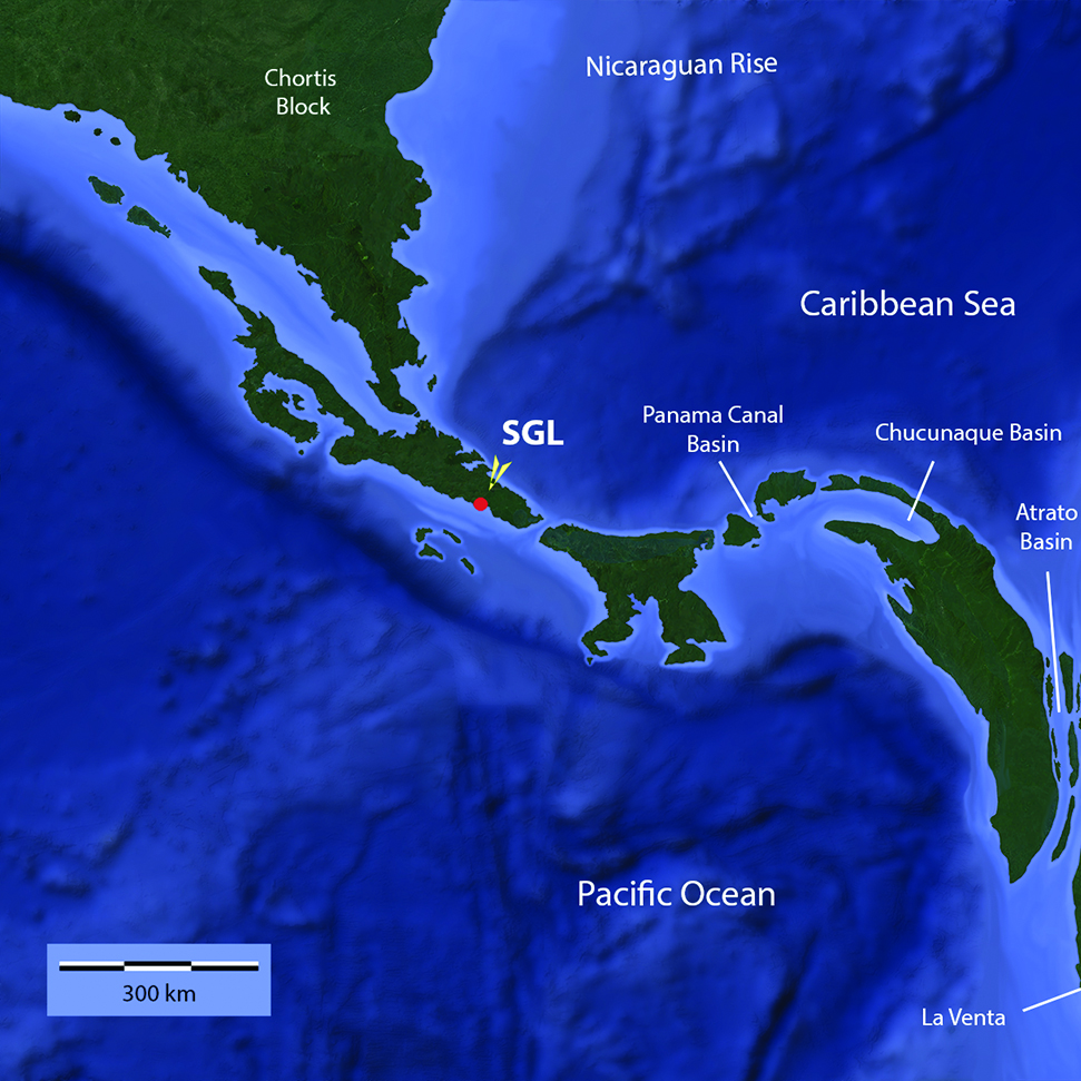 Hypothetical paleogeographical reconstruction of the Chortis Block, Isthmus of Panama and North West of South America at the Upper Miocene